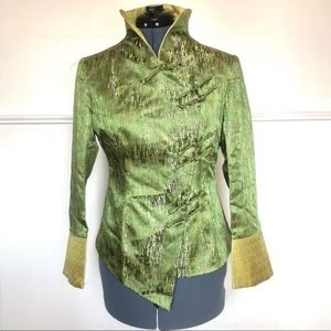 Vintage Lime Green Asian Cropped Jacket Silk/satin
